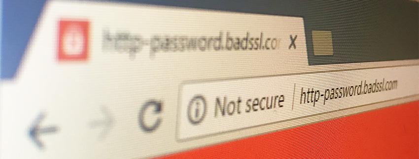 הודעת אזהרה בדפדפן גוגל כרום על אתר לא מאובטח
